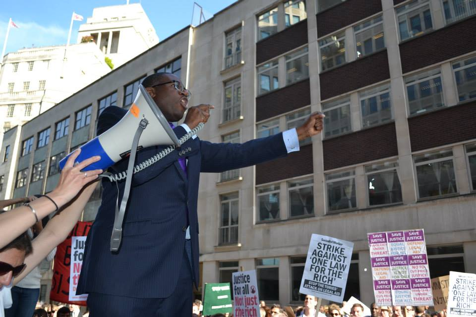 David Lammy speaking at Justice Alliance demo