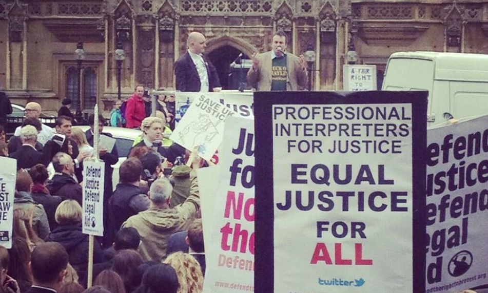Gerry Conlon at Save UK Justice demo
