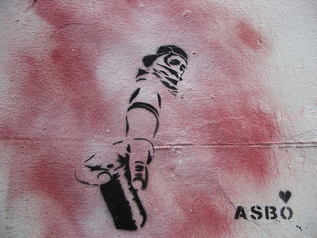 Asbo love stencil, Flickr, Creative Comms, bixentro