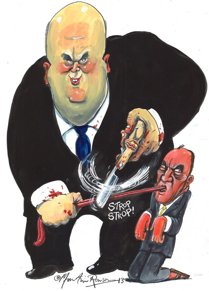 Chris Grayling by Martin Rowson (for the Just6ice Alliance)