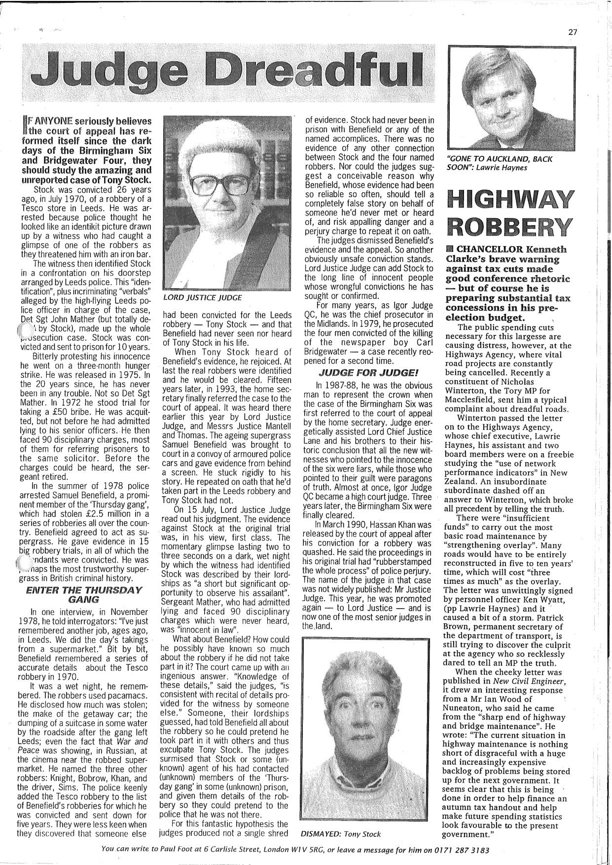 Paul Foot on Tony Stock, 1996