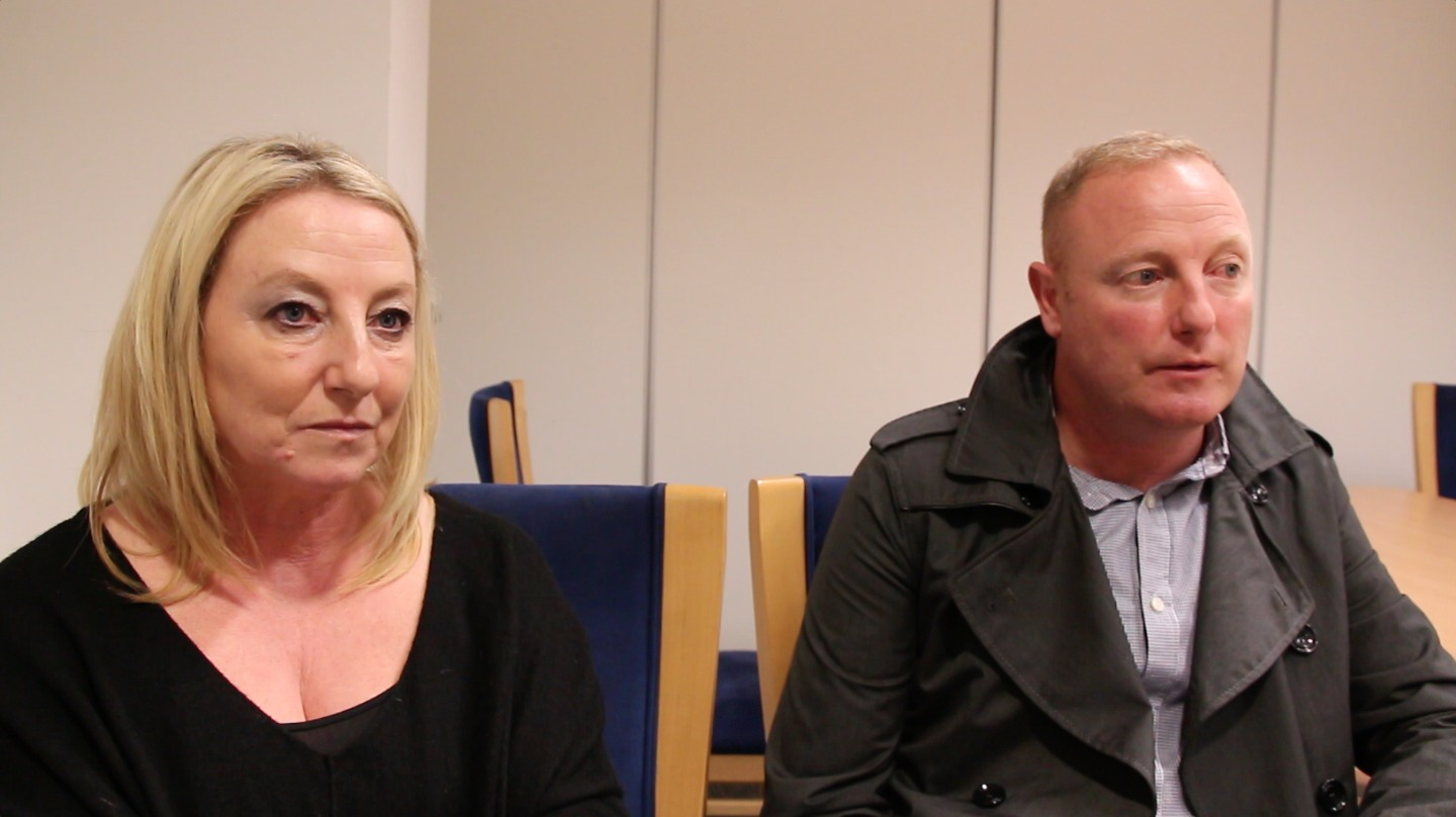 Antoinette Stubbs and Steve Stock talking about their father, October 20, 2014 (Photo by Bracken Stockley)