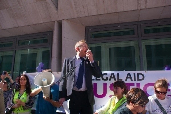 Andy Slaughter outside the Ministry of Justice