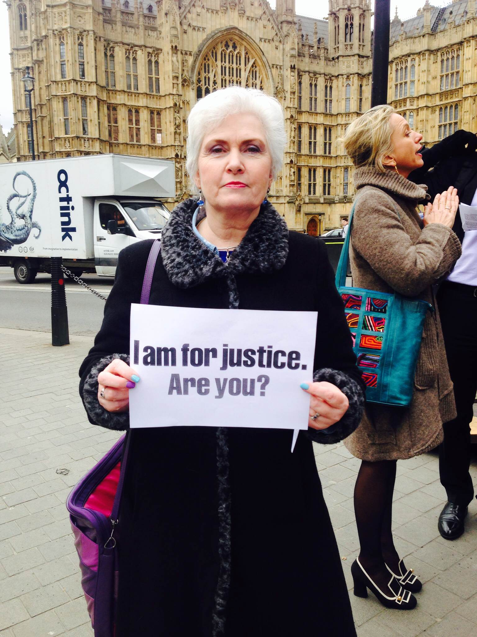 Barry George's sister, Michelle Bates on a Justice Alliance demo