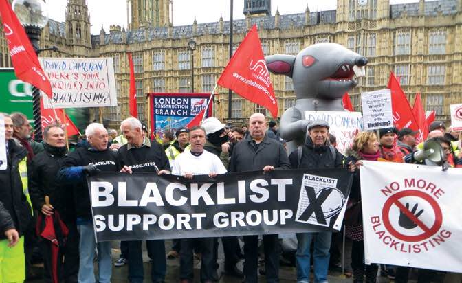 Demo outside parliament, TUC Day of Action on Blacklisting in 2012