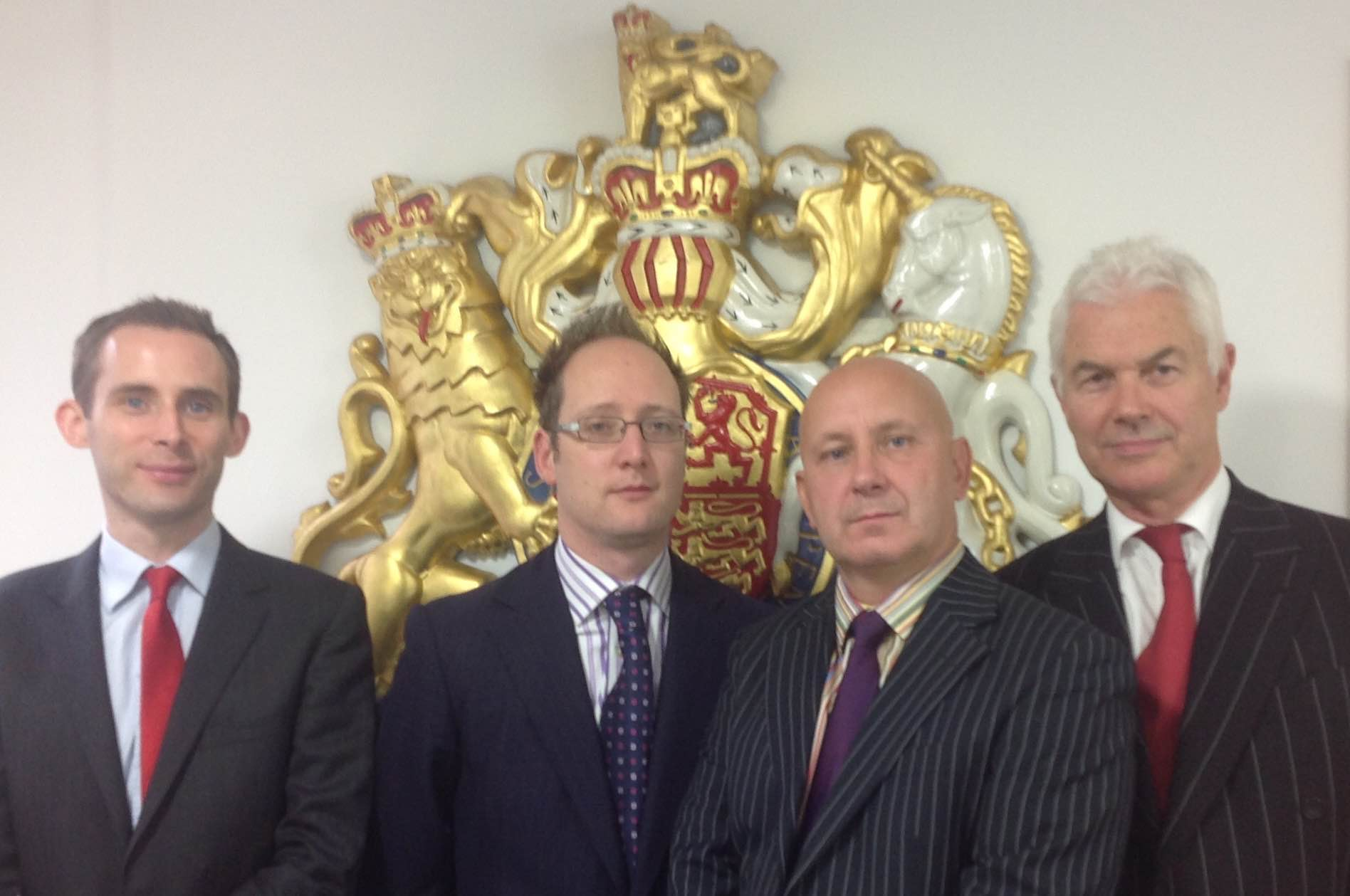 Dave Smith (second from right) with legal team from Smith v Carillion test case.  (L-R) Declan Owens, David Renton, Smith, and John Hendy QC   (all acting pro-bono via the Free Representation Unit)