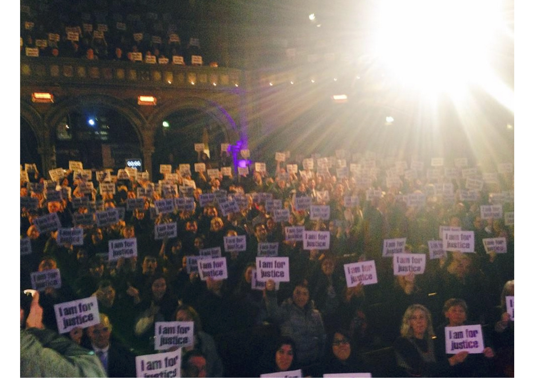 Stand up for justice: Pic by Mary-Rachel McCabe from stage of the Union Chapel at 'Not the global law summit'