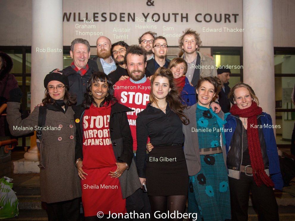 Plane Stupid activists after a court hearing at Willesden magistrates court
