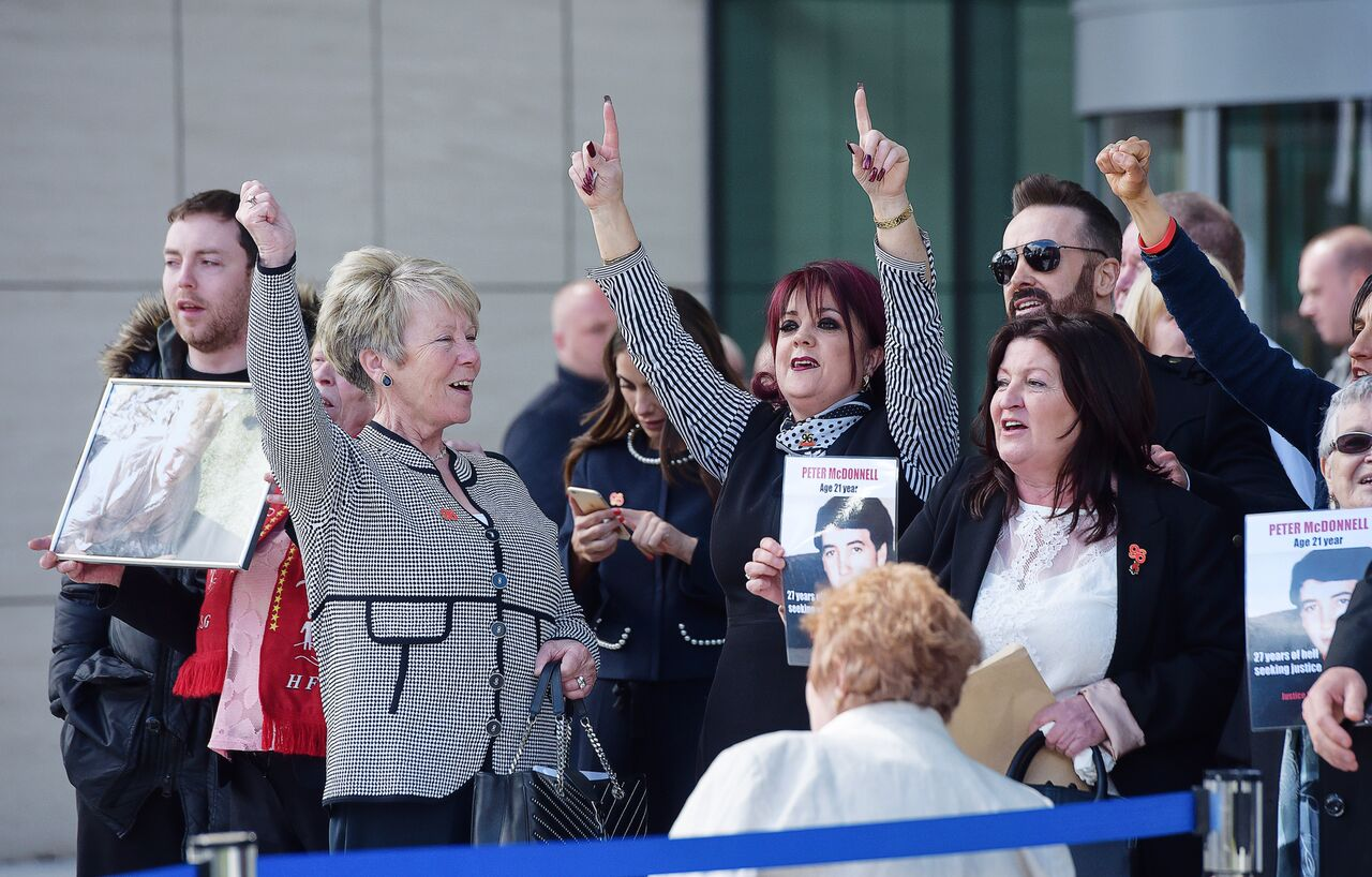 Hillsborough families outside the inquests last Tuesday