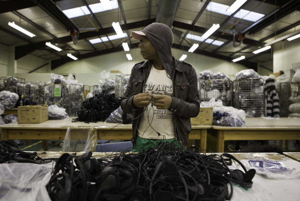 Airline headphone sorting at HMP Downview. Pic: Andrew Aitchison