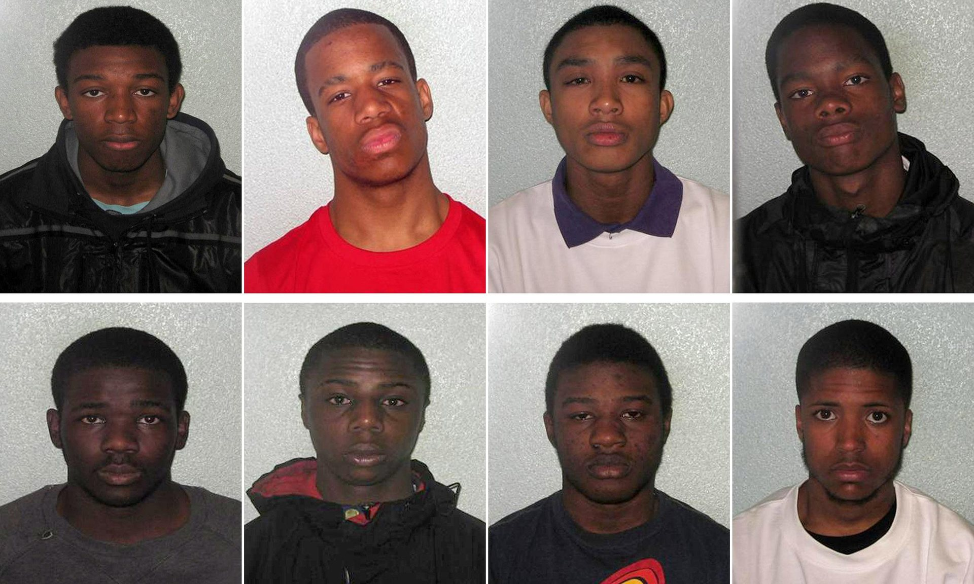 Top row (left to right): Dale Green, Lamarr Gordon, Joseph Appiah and Demar Brown. Bottom row (left to right) Terell Clement, Claude Gaha, Edward Conteh and Sheldon Gordon  (Pic: Metropolitan Police/PA)