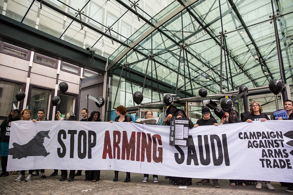 London, UK. 11th July, 2016. Protest against arms sales to Saudi Arabia outside the Government department responsible for arms export promotions. Pic by Campaign Against the Arms Trade