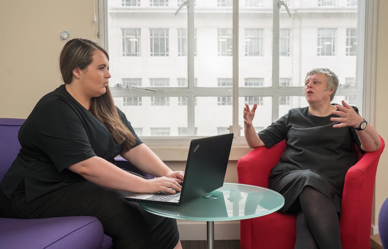 Alexandria Lowry with RCJ Advice director Alison Lamb
