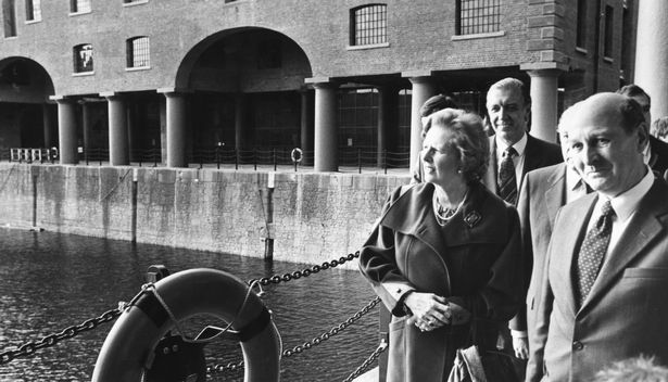 Margaret Thatcher on a visit to Albert Dock in Liverpool in 1984