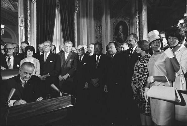 President Lyndon. Johnson signing the Voting Rights Act  1965